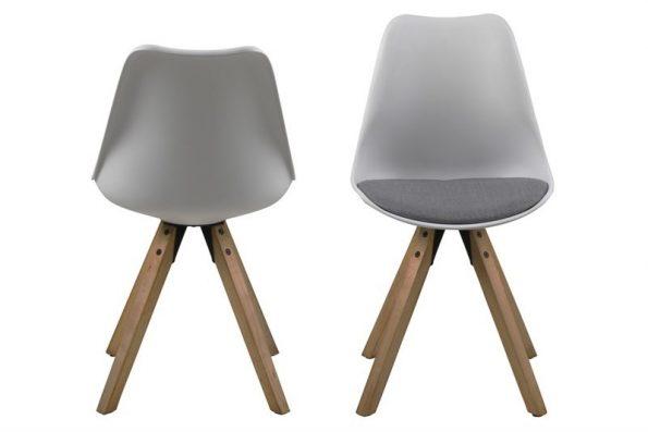 Стол за трапезария Dima бял възглавница светло сива 1