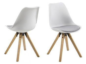 Стол за трапезария Dima бял възглавница светло сива