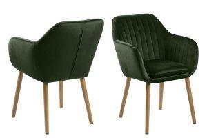 Дизайнерски стол Emilia Oak горско зелен плюш