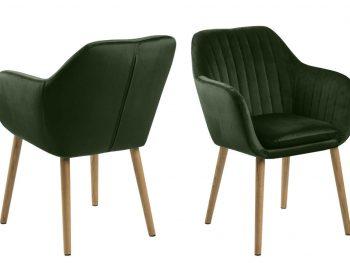 Дизайнерски стол Emilia Oak горскозелен плюш