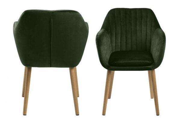 Дизайнерски стол Emilia Oak горско зелен плюш 2