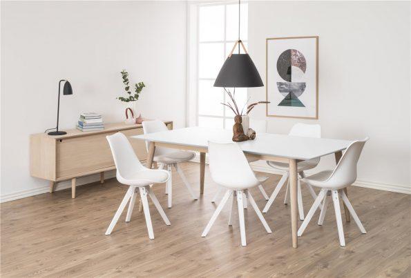 Стол за трапезария Dima бял крака бели 2