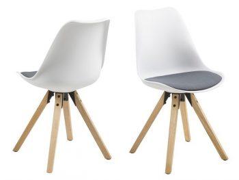 Стол за трапезария Dima бял възглавница тъмно сива