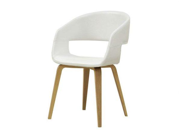 Стол за трапезария NOVA бял Еко кожа крака дъб