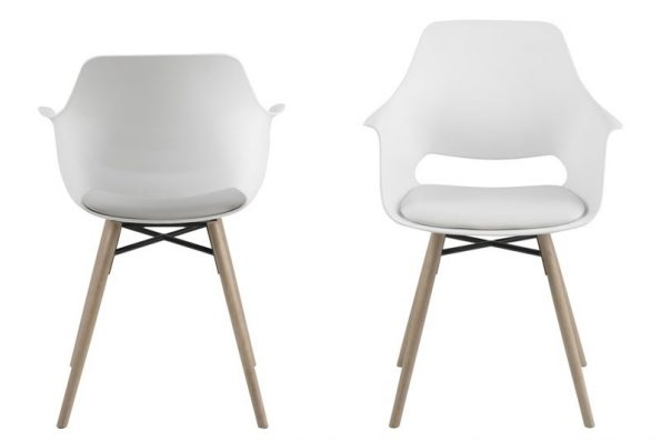 Стол за трапезария Ramona бял / крака светло дърво 1