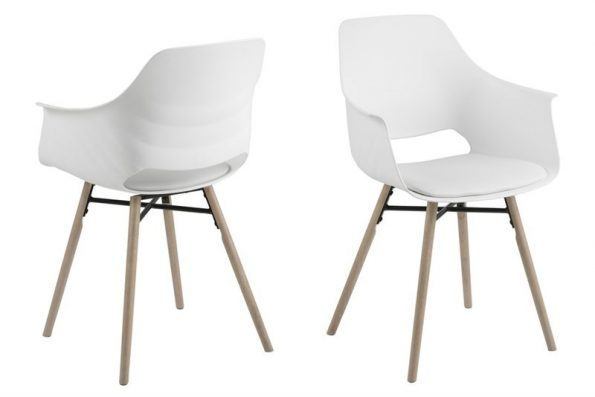 Стол за трапезария Ramona бял / крака светло дърво