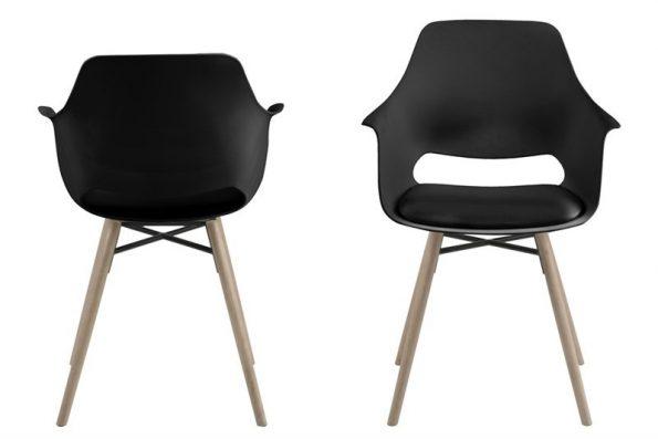 Стол за трапезария Ramona черен / крака светло дърво