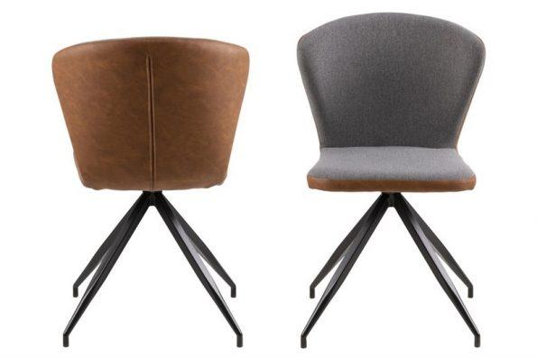 Стол за трапезария Viggo. Дамаска: фронт Spy fabric grey 20, leather look Brandy PU. Крака черен метал. Размери (дължина, широчина, височина): 51,0 x 53,0 x H: 82,0 cm.