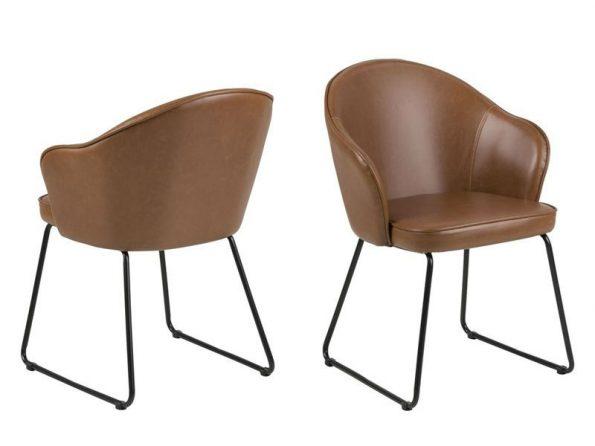 Трапезарен стол Mitzie кафяв еко кожа- крака черни