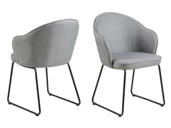 Трапезарен стол Mitzie светло сив - крака черни 1