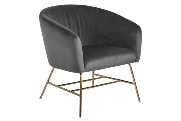Кресло Ramsey тъмно сиво плюш крака месинг