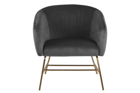 Кресло Ramsey тъмно сиво плюш крака месинг1