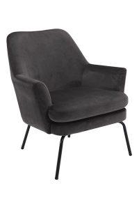 Кресло Чиза тъмно сиво плюш