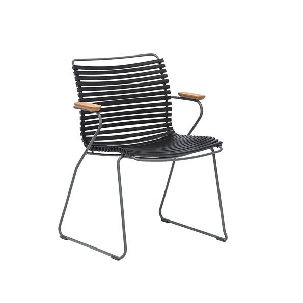 Градински стол CLICK Black с подлакътници