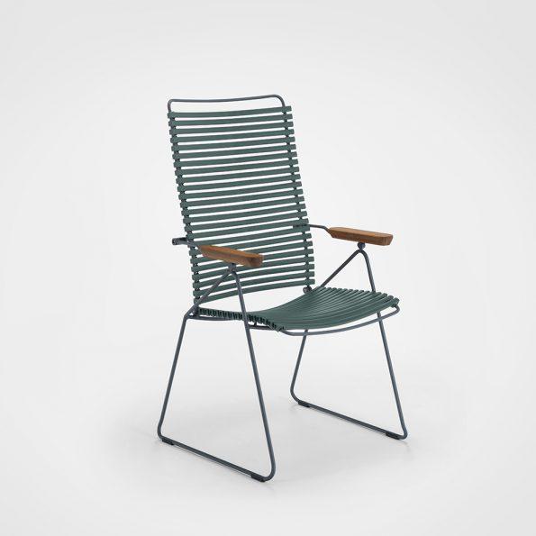 Градински стол_CLICK Pine_Green регулируема облегалка