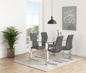 Кухненски стол Asama сив еко кожа 3