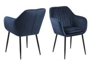Дизайнерски стол Emilia тъмно син плюш