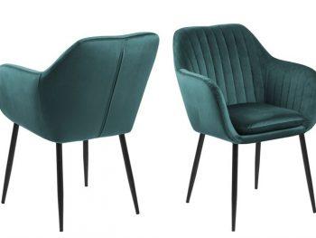 Дизайнерски стол Emilia зелен плюш