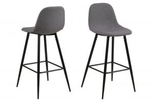 Бар стол Wilma светло сив нисък