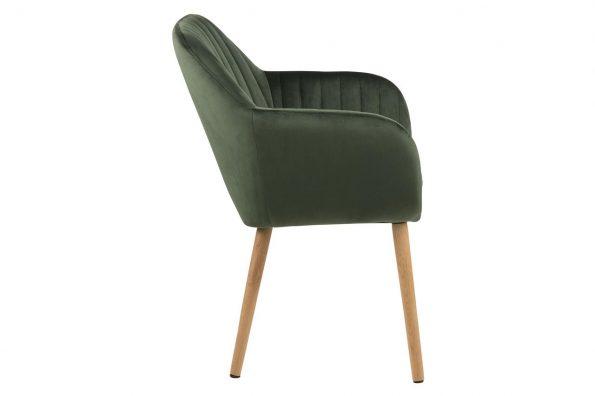 Дизайнерски стол Emilia Oak горско зелен плюш 3