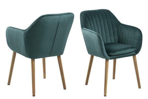 Дизайнерски стол Emilia Oak зелен плюш