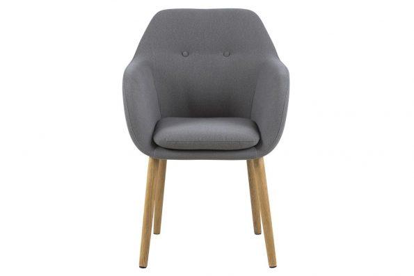 Трапезарен стол Emilia buttons светло сив 1