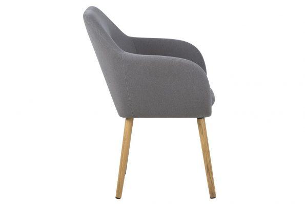 Трапезарен стол Emilia buttons светло сив 2