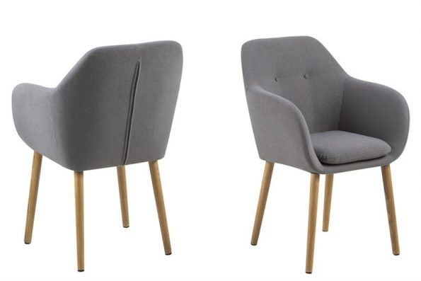 Трапезарен стол Emilia buttons светлосив